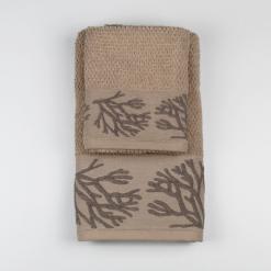 Set Asciugamano Viso e Ospite Mediterraneo Coralli Beige