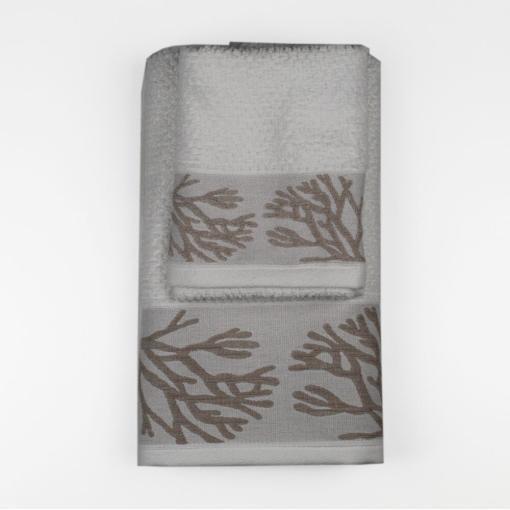 Set Asciugamano Viso e Ospite Mediterraneo Coralli Bianco-Beige