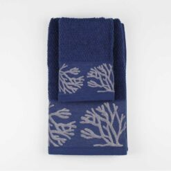 Set Asciugamano Viso e Ospite Mediterraneo Coralli Blu