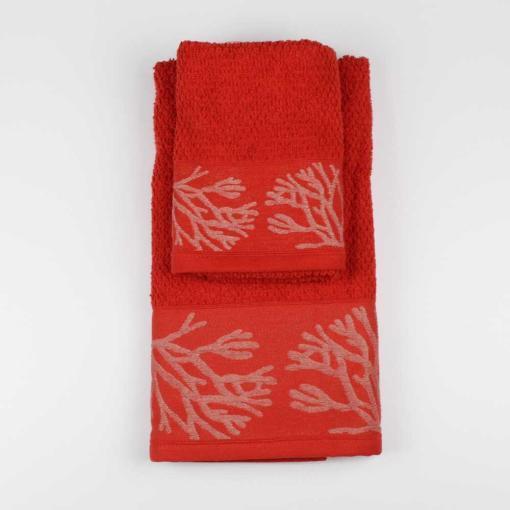 Set Asciugamano Viso e Ospite Mediterraneo Coralli Corallo