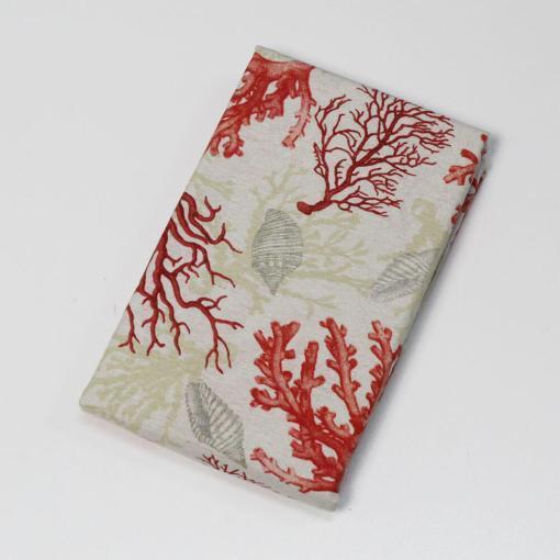 Tovaglia Stampata Coralli in Loneta Linea Oro Rosso