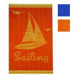 Telo Mare Jaquard Velour Mastro Bianco Sailing